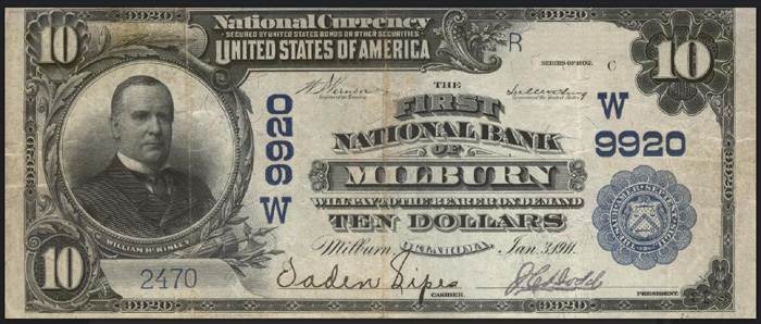 First National Bank of Milburn National Currency dollar bill