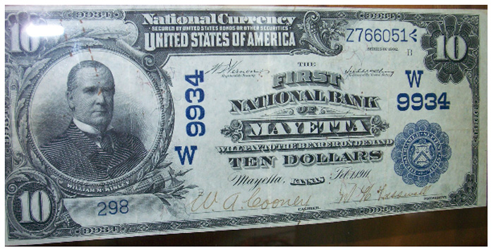First National Bank of Mayetta National Currency dollar bill