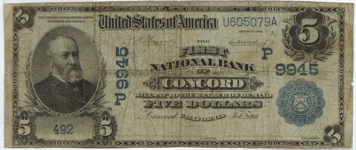 First National Bank of Concord National Currency dollar bill
