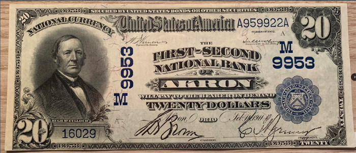 First-Second National Bank of Akron National Currency dollar bill