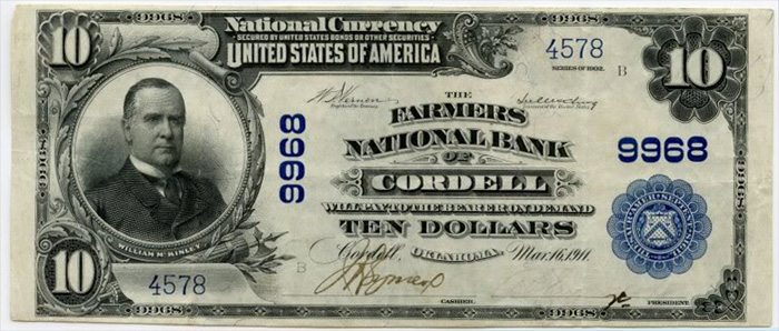Farmers National Bank of Cordell National Currency dollar bill