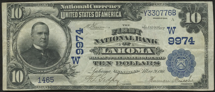 First National Bank of Lahoma National Currency dollar bill