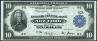 Federal Reserve Bank Note Series 1918 $10 New York