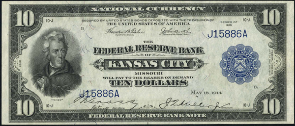 1915 $10.00 Kansas City, MO Federal Reserve Bank Note
