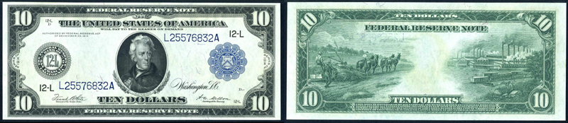Series 1914 $10.00 New York Federal Reserve Note Blue Seal