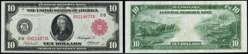 1914 $10.00 New York Federal Reserve Note