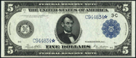 Federal Reserve Note Series 1914 $5.00 Blue Seal