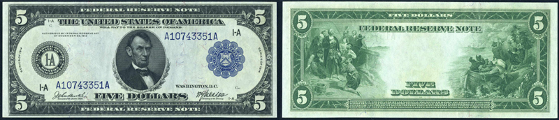 Series 1914 $5.00 Dallas Federal Reserve Note blue seal