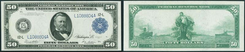 Series 1914 $50.00 New York Federal Reserve Note Blue Seal