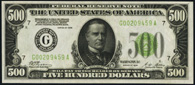 Federal Reserve Note Series 1928 $500 Chicago