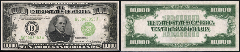 Series 1934 $500, $1000, $5000 and $10000 dollar bill