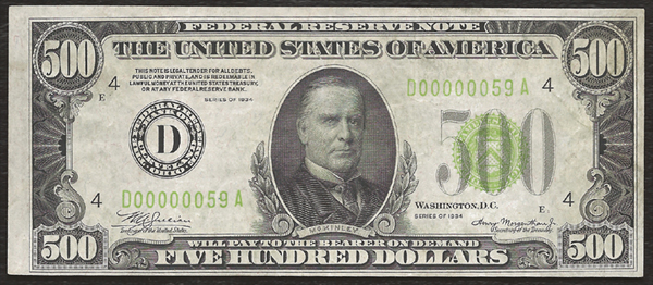 1934 $500.00 Cleveland, OH Federal Reserve Note