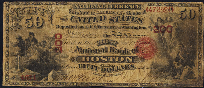 1872 Fifty Dollar Bill National Currency Original Series Note