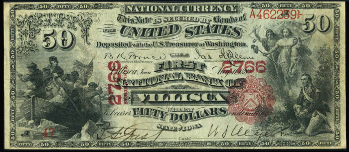 1876 Fifty Dollar Bill National Currency Value and Information