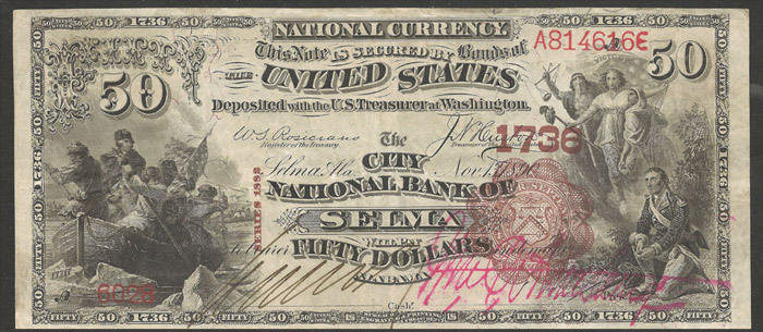 1892 Fifty Dollar Bill National Currency Note