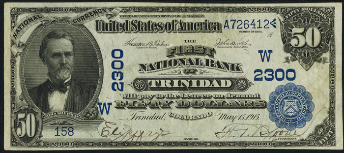 1915 Fifty Dollar Bill Blue Seal National Currency Note