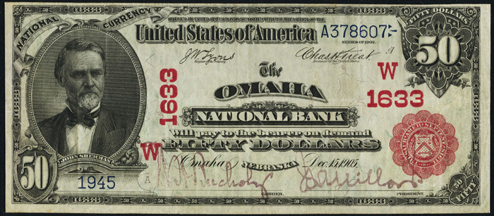 1906 Fifty Dollar Bill Red Seal National Currency Note