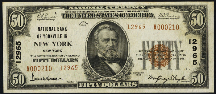 1929 Fifty Dollar Bill National Currency Note Type 2
