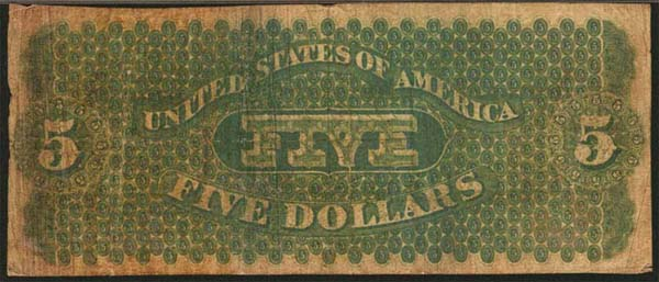 1861 5 Dollar Bill Back