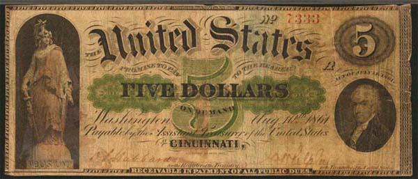 1861 5 Dollar Bill Front