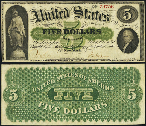 1861 Five Dollar Bill Demand Note