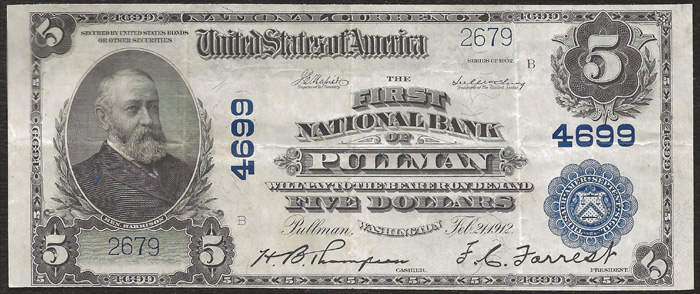 1912 Five Dollar Bill National Currency Blue Seal Note