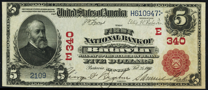 1906 Five Dollar Bill National Currency Red Seal Note