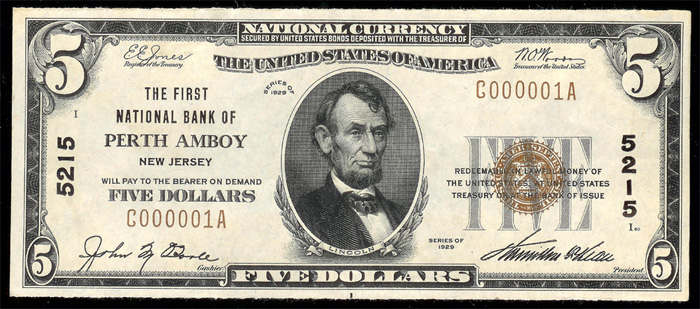 1929 Five Dollar Bill National Currency Note Type 1