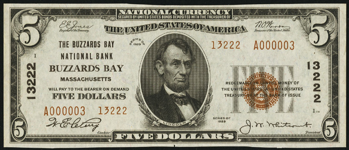 1929 Five Dollar Bill National Currency Note Type 2