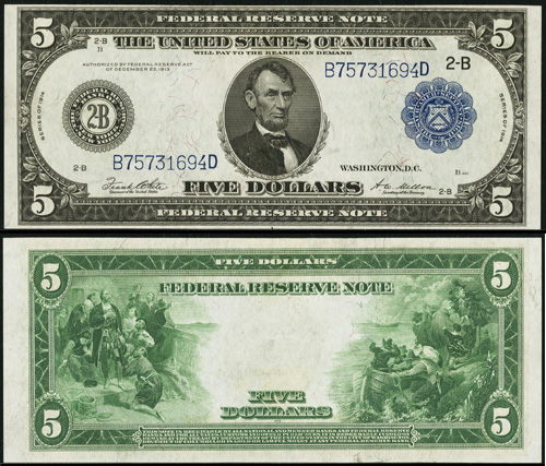 1914 Five Dollar Bill Federal Reserve Blue Seal Note