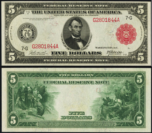 1914 Five Dollar Bill Federal Reserve Red Seal Note
