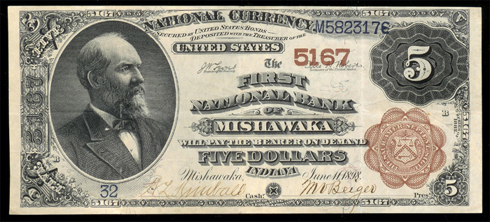 1887 Five Dollar Bill National Currency Brown Back Note