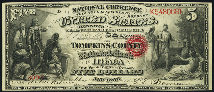 1866 Five Dollar Bill National Currency Original Series Note
