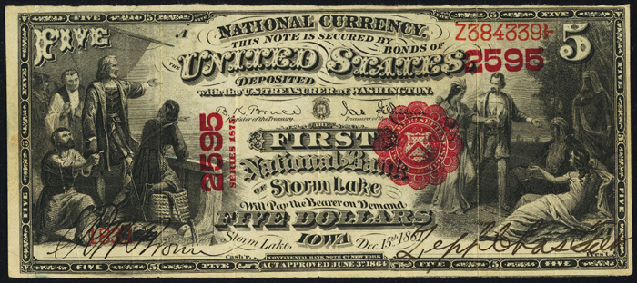 1876 Five Dollar Bill National Currency Series 1875 Note
