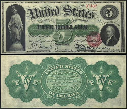 1863 Five Dollar Bill Legal Tender Note