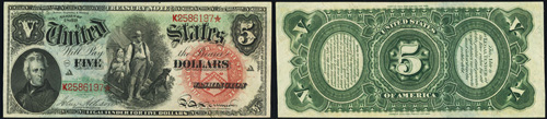 1869 Five Dollar Bill Legal Tender Note