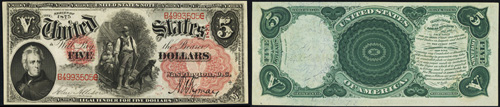 1875 Five Dollar Bill Legal Tender Note