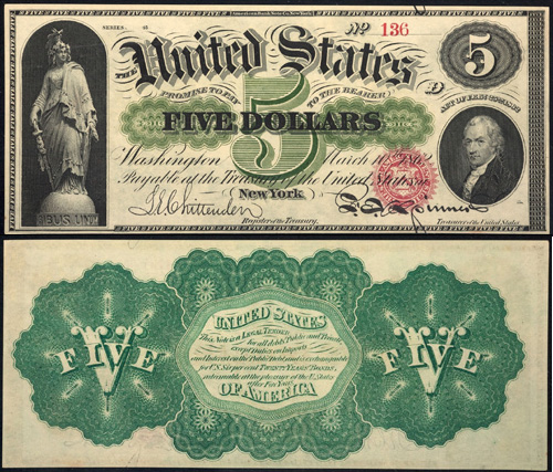1862 Five Dollar Bill Legal Tender Note