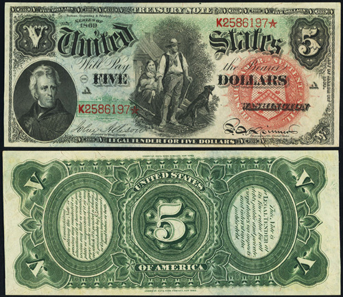 1869 Five Dollar Bill Legal Tender Rainbow