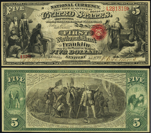 1863 Five Dollar Bill National Currency Note