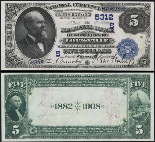 1882 Five Dollar Bill National Currency Date Back Note