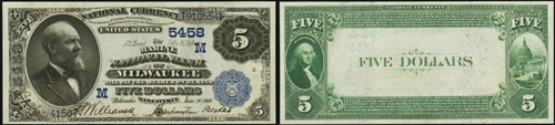 1882 Five Dollar Bill National Currency Value Back Note
