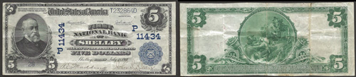 1902 Five Dollar Bill National Currency Blue Seal Note