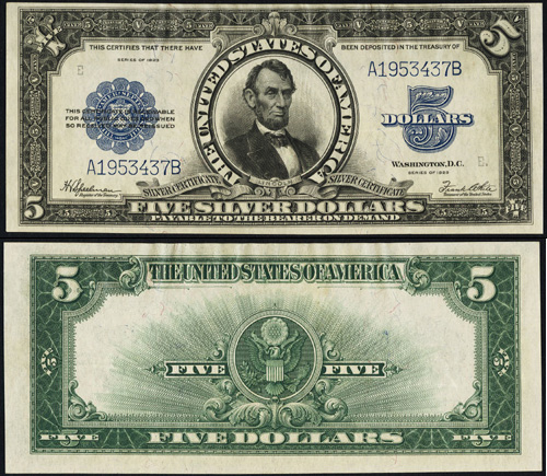 1923 $5.00 Five Dollar Bill Silver Certificate Porthole