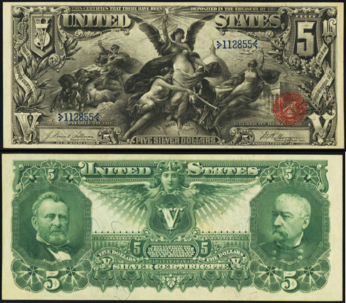 1896 $5.00 Five Dollar Bill Silver Certificate Value Information and ...