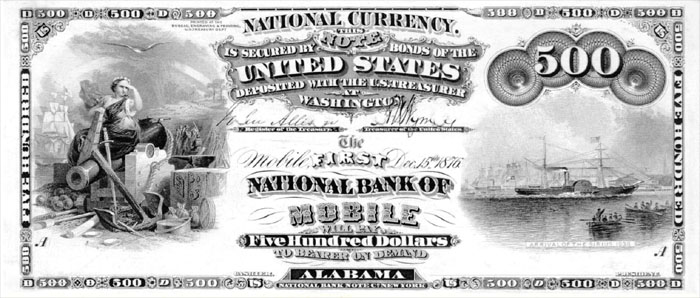 1870 Five Hundred Dollar Bill National Currency