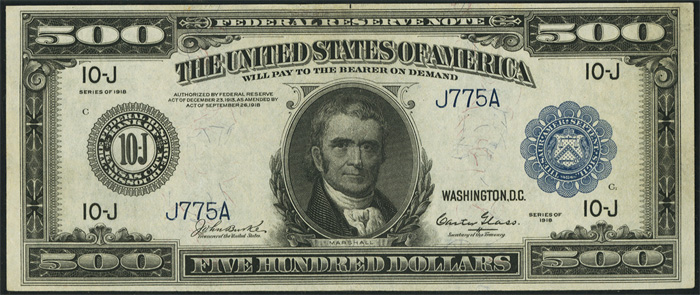 1918 Five Hundred Dollar Bill Federal Reserve Note