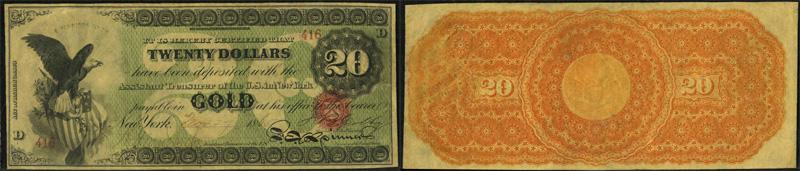 1863 $20 Gold Certificate
