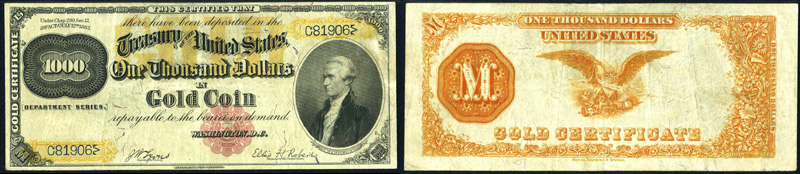 Series 1882 $1000 Gold Certificate