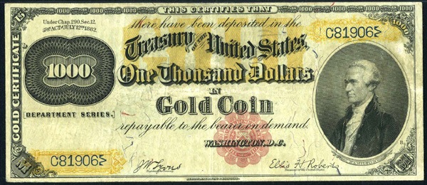 Gold Certificate Series 1882 $1000